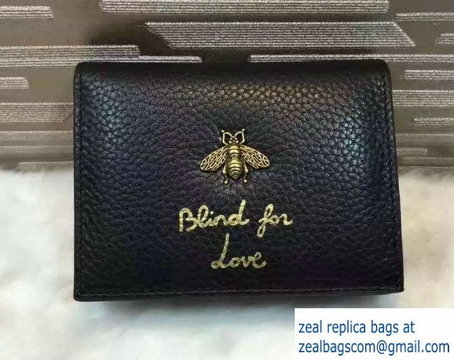 a8dfbd65f5d Gucci Animalier Bee And Blind For Love Card Case 460185 Black 2016 ...