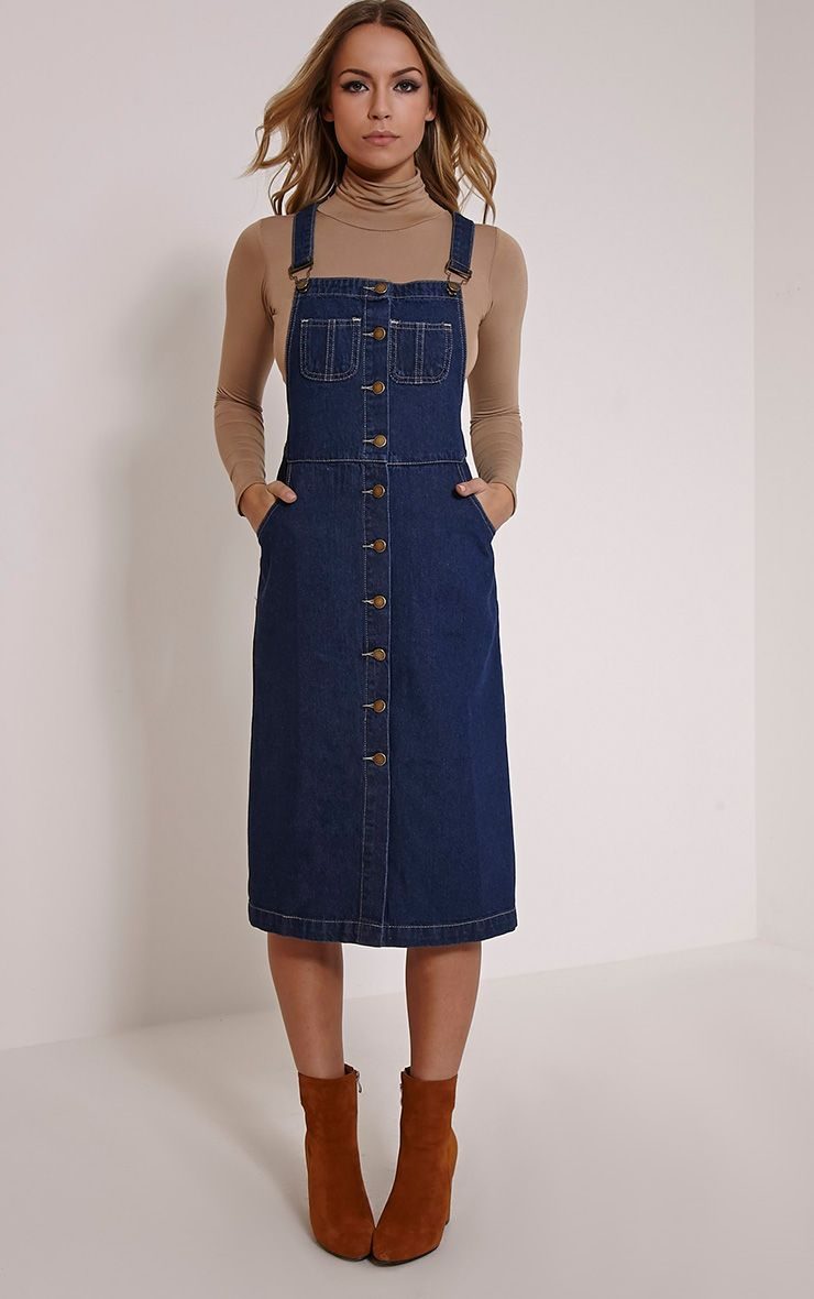 1106835ba88 Dolly Indigo Denim Button Front Pinafore Dress in 2019