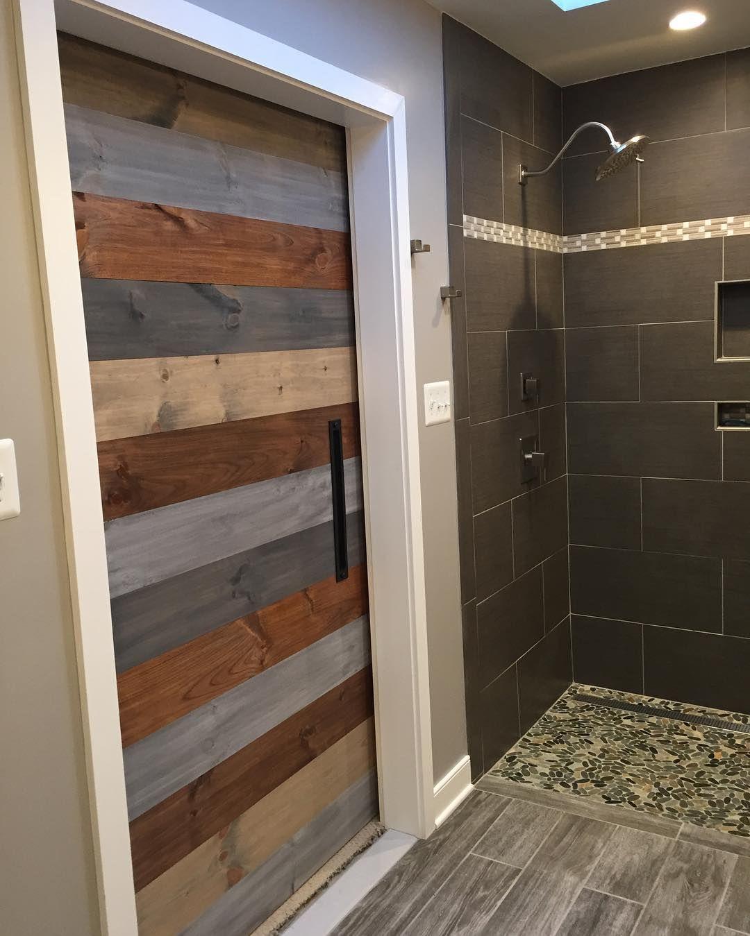 Our Multi Stain Horizontal Plank Barn Door Installed In A Master Barn Door Door Installation Sliding Doors Interior