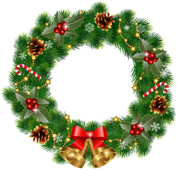 Christmas Wreath With Bells Png Clipart Image Christmas Card Crafts Christmas Wreath Clipart Christmas Cards To Make