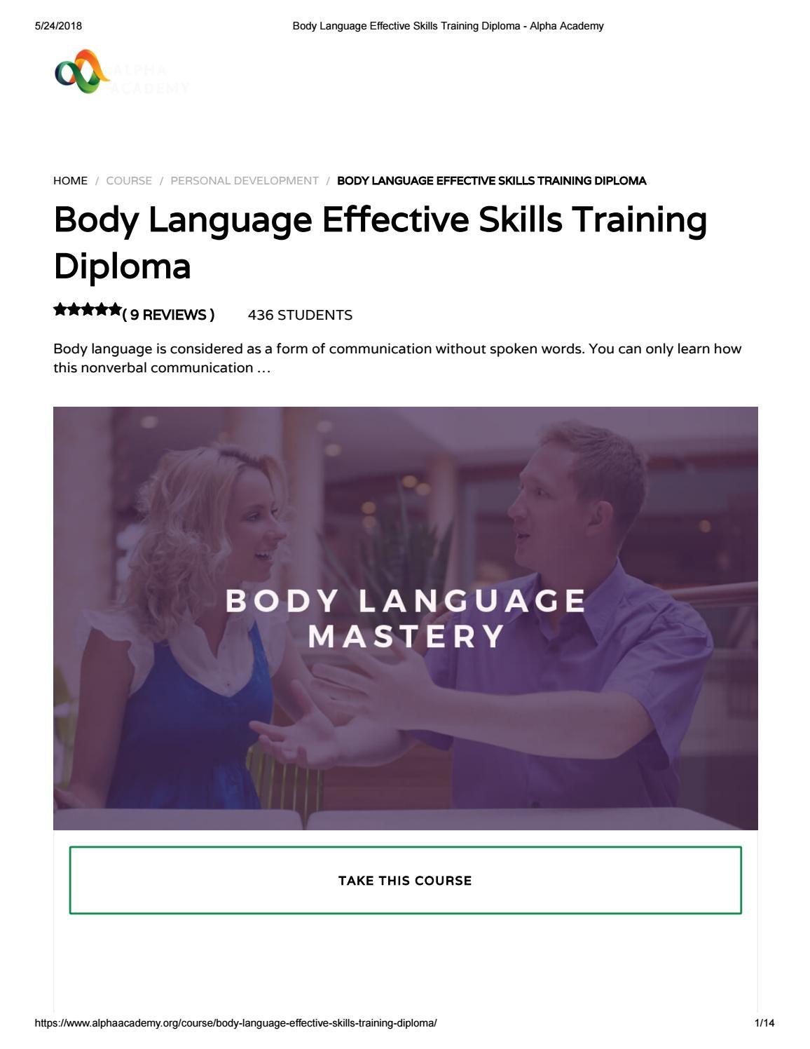 Body Language Effective Skills Training Diploma