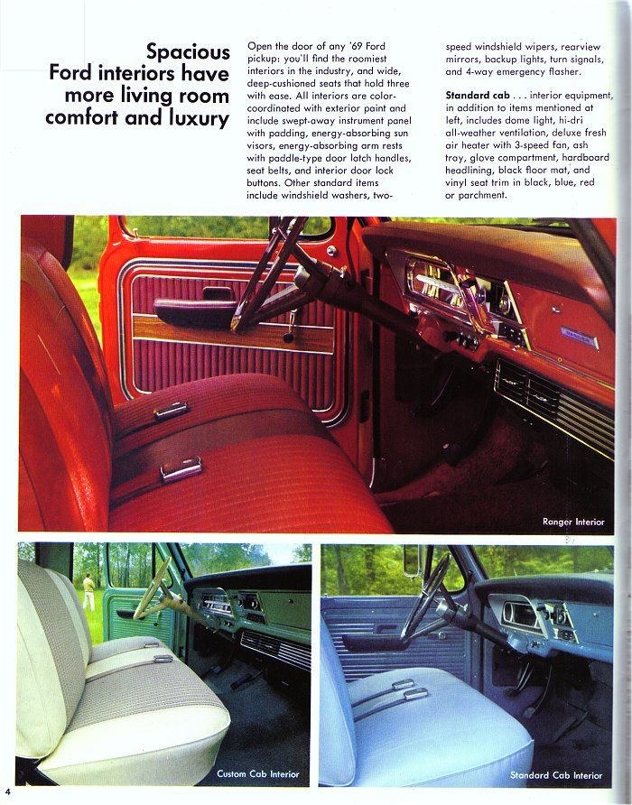 1969 Ford F Series Pickup Brochure Ford Trucks Ford F Series Ford Interior