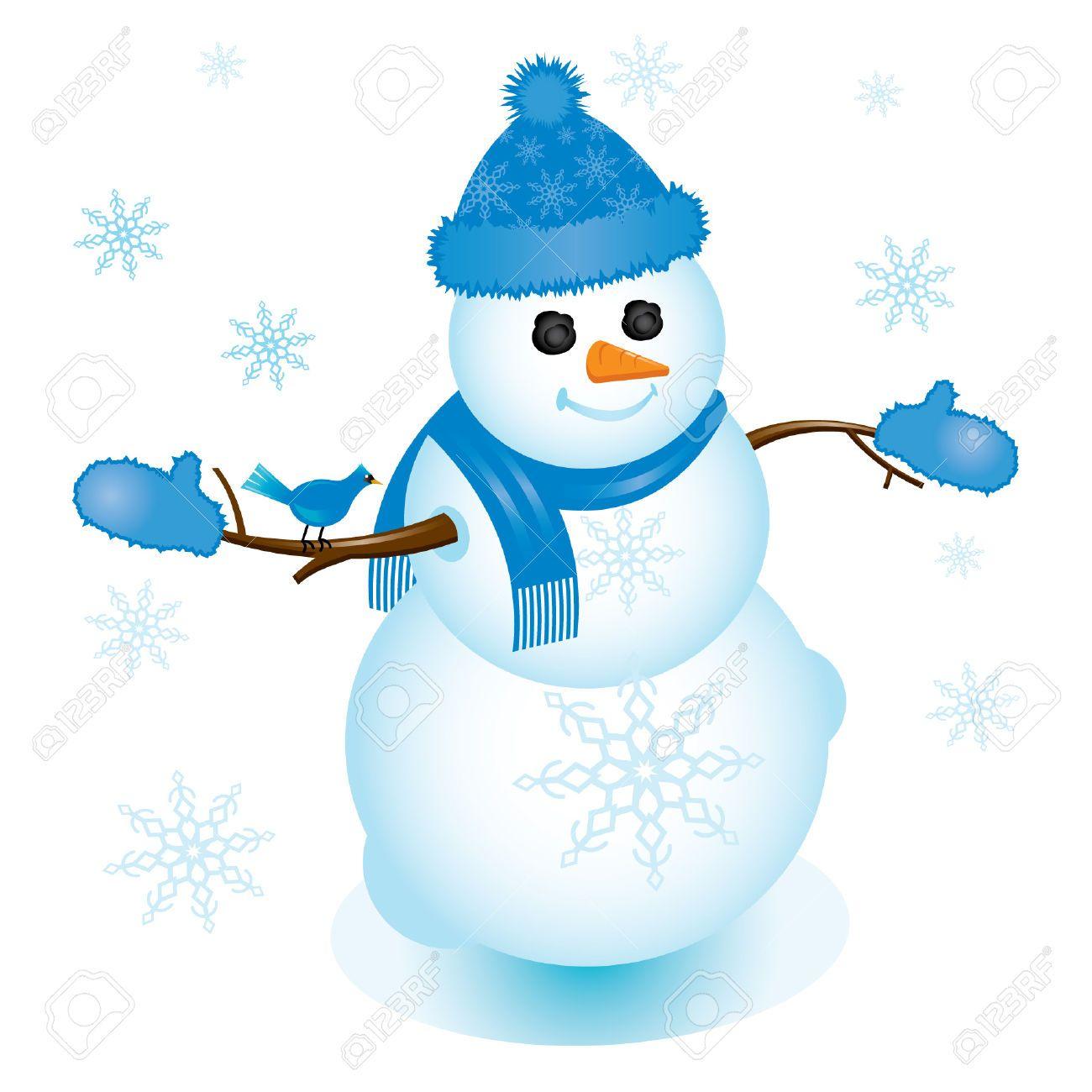 Stock Vector Blue mittens, Snowman, Mittens