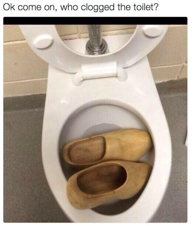 Bathroom Puns pun of the day clogged toilet | posts | pinterest | clogged