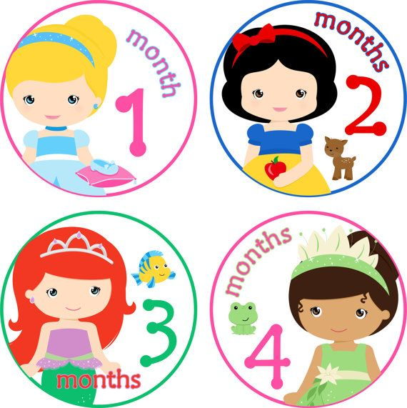 ON SALE Baby Month Stickers Baby Monthly Stickers Girl Monthly Shirt Stickers Disney Princess Shower Gift Photo Prop Baby Milestone