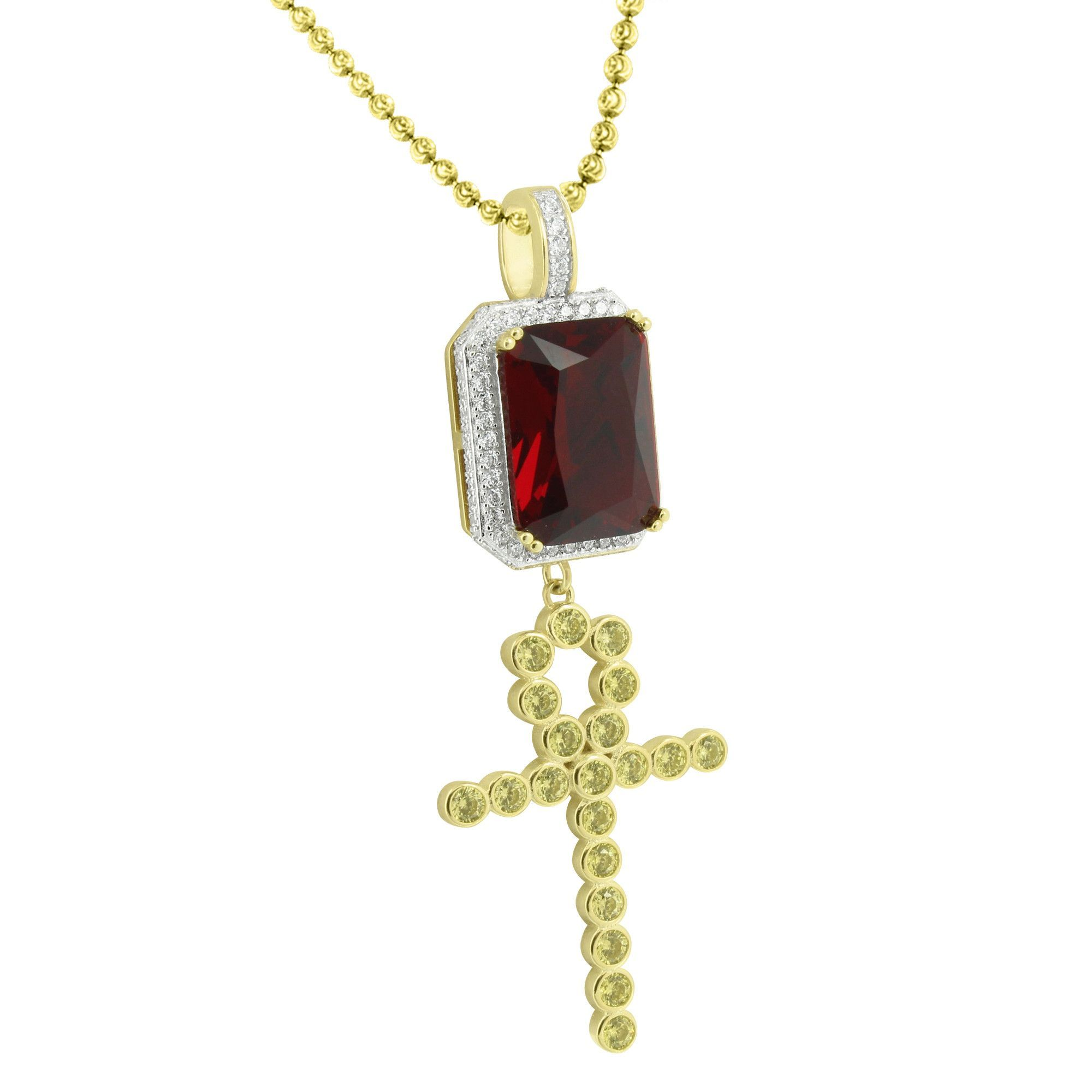 Cross ruby pendant chain set gold over sterling silver ruby