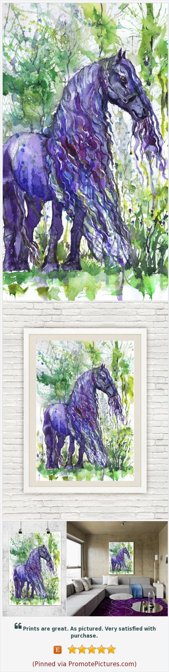 Friesian horse painting watercolor stallion equine art equestrian