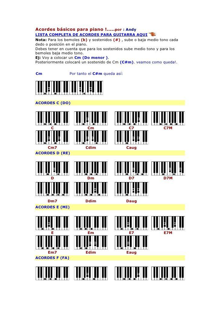 Acordes Básicos Para Piano Por Andy Lista Completa De Acordes Para Guitarra Aqui Nota Para Los Bemoles B Y Sost Piano Musicals Tono