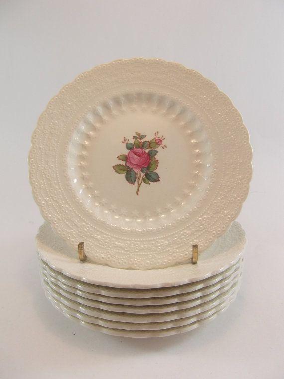 Copeland Spode Bread and Butter Plates Set of Eight Billingsley Rose Elegant