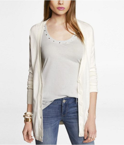 Express Womens Boyfriend Cardigan Soft Ivory, X Small