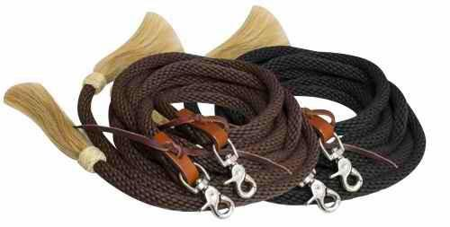 "Western Tan Leather Rawhide Braided Split Reins 96/"" Long with Tassel"