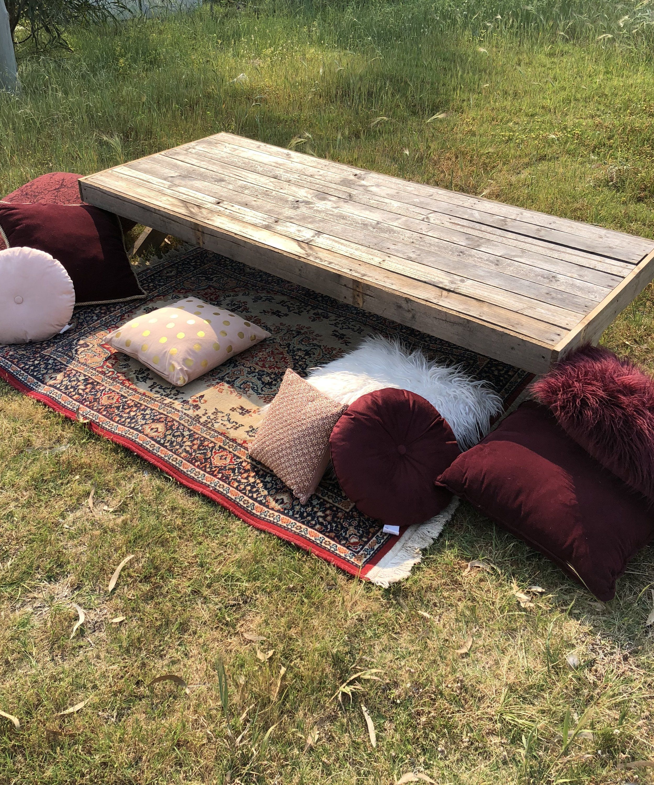 Boho Low Picnic Tables Party Ingredients Picnic Table Party Diy Picnic Table Pallet Table Outdoor