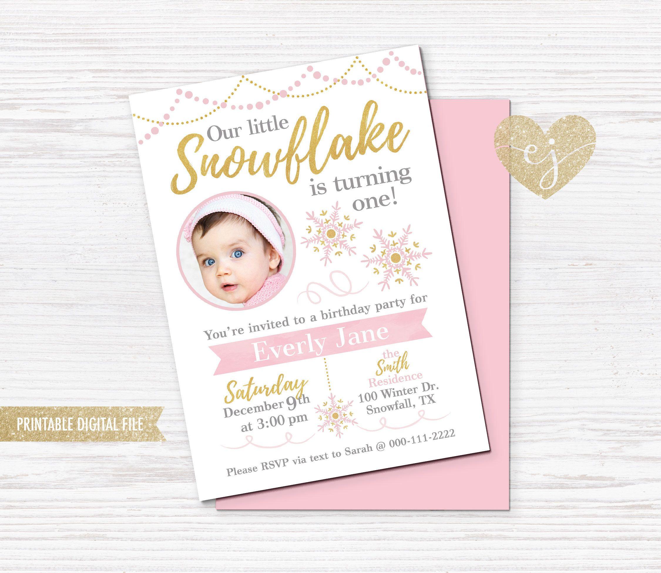 Snowflake Girl Birthday Invitation, Winter Birthday Invitation ...