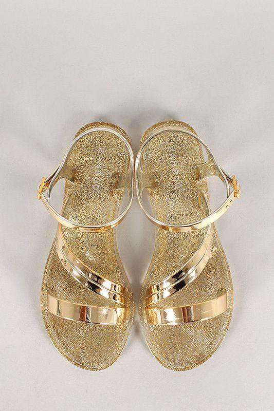 ba97826aef2c Bamboo Metallic Glitter Jelly Flat Sandal