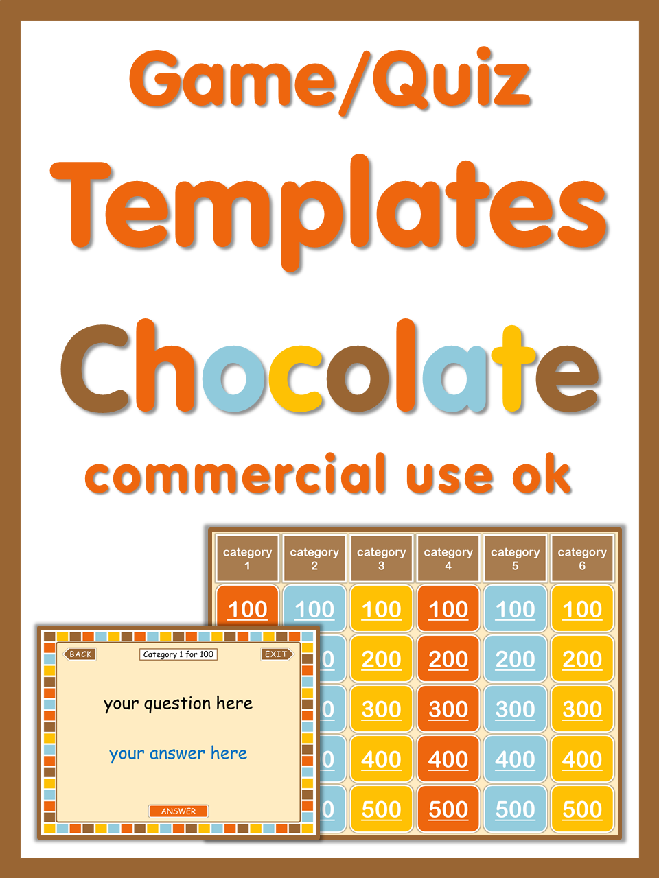 powerpoint game templates chocolate style commercial use ok teach