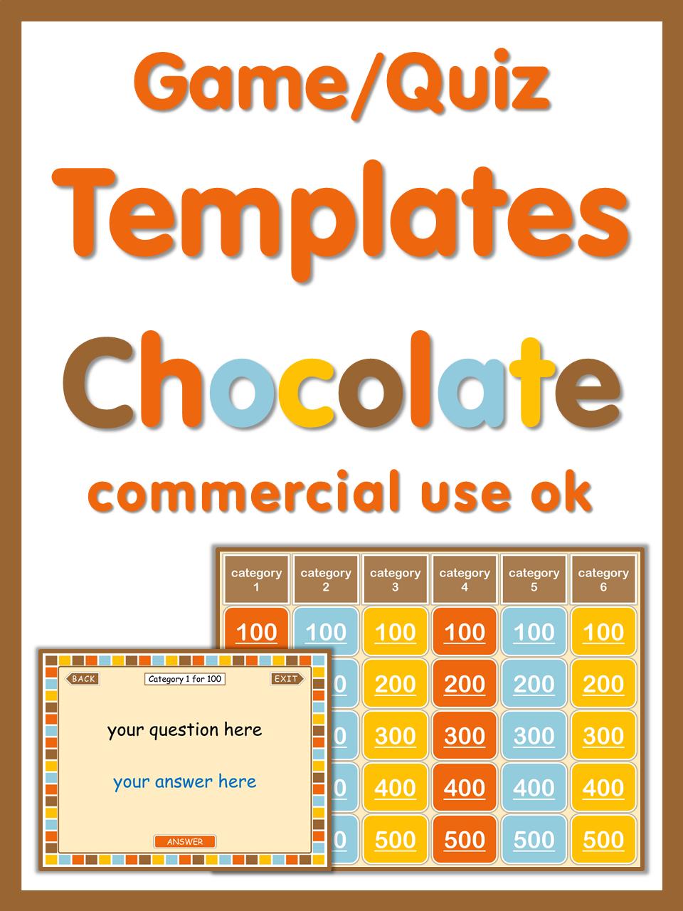 Powerpoint game templates chocolate style commercial use ok powerpoint game templates for commercial use this set has 6 editable powerpoint quizgame toneelgroepblik Images