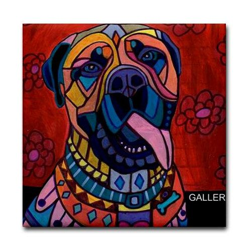 50% Off- Bullmastiff Art Tile Ceramic Coaster Print of painting by Heather Galler dog Gift