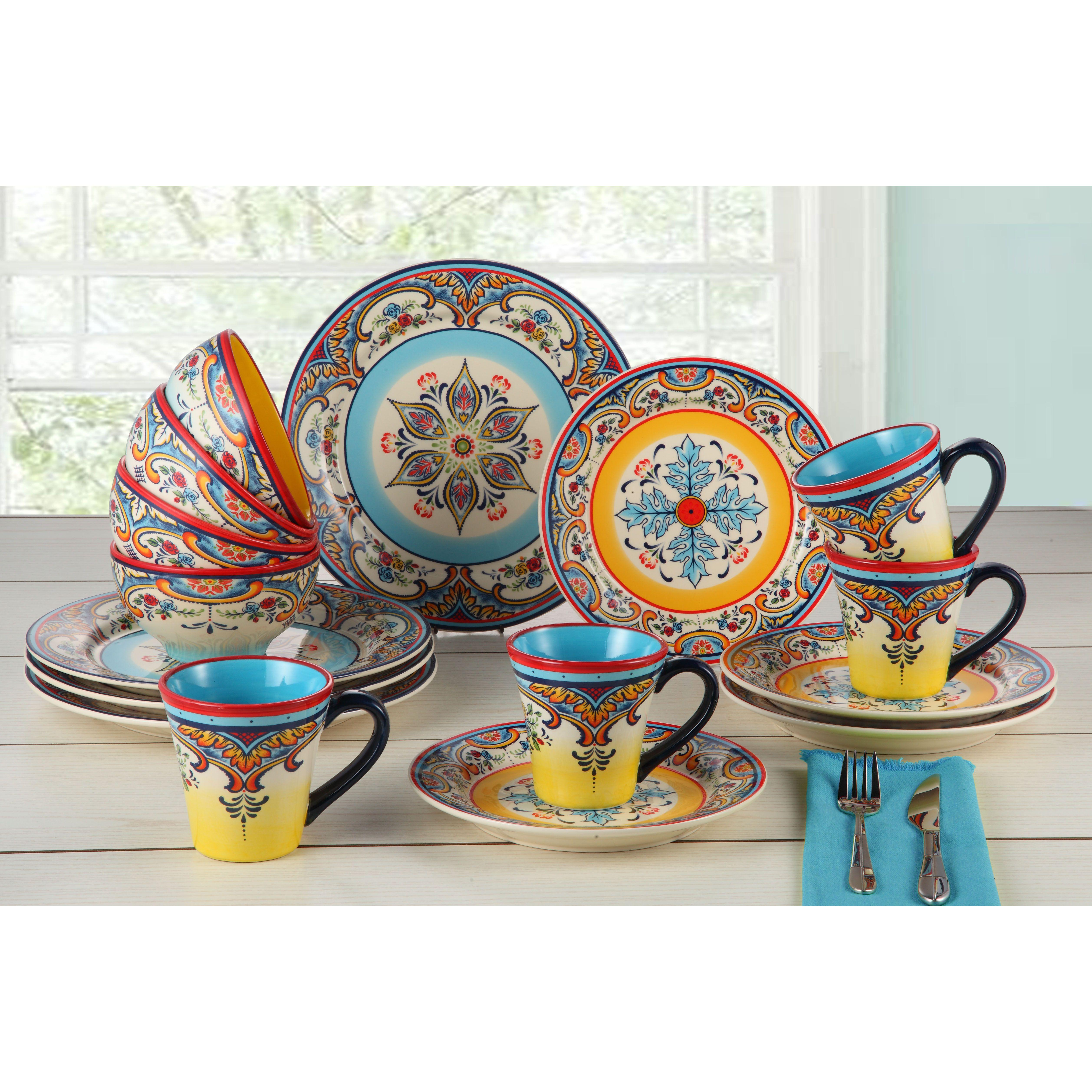 EuroCeramica 16-Piece Zola Dinnerware Set  sc 1 st  Pinterest & Zanzibar 16 Piece Dinnerware Set Service for 4 | Dinnerware and ...