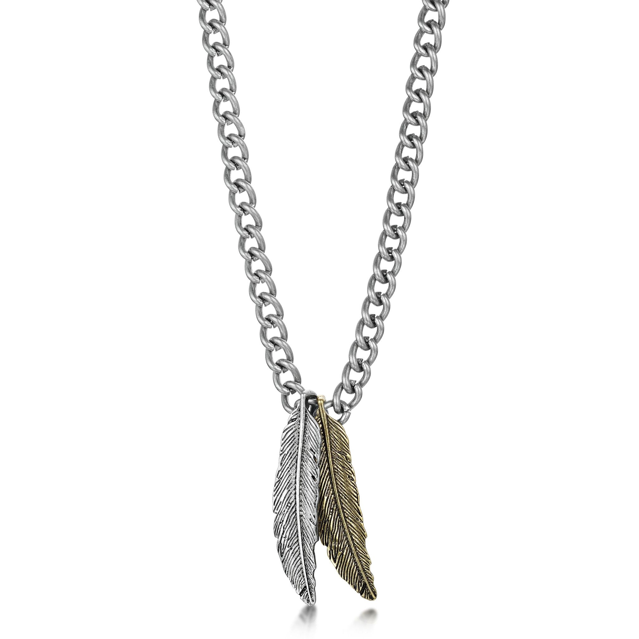 Aged silver gold double feather pendant neck chain wishlist aged silver gold double feather pendant neck chain mozeypictures Gallery