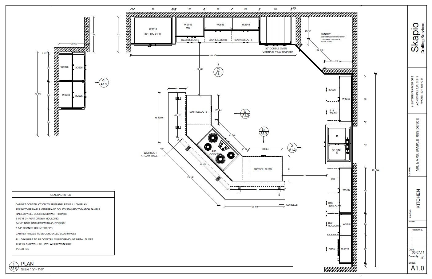 Sample kitchen floor plan shop drawings pinterest for One wall kitchen dimensions