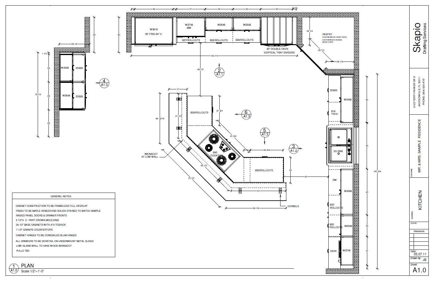 Sample Kitchen Floor Plan   Shop Drawings   Pinterest ...