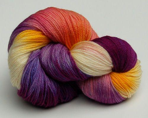 "So very springtime! Yarn Love ""Early Crocus"" colorway on ""Juliet"" yarn (sock/fingering weight merino/nylon blend)."