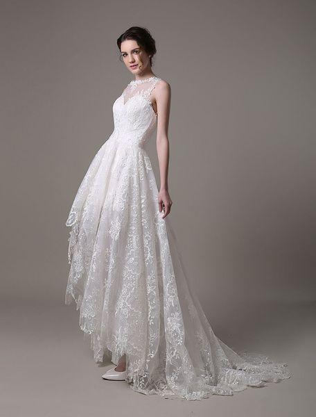 Robe de Mariée Bohème en dentelle ivoire robe de mariée asymétrique Cou translucide