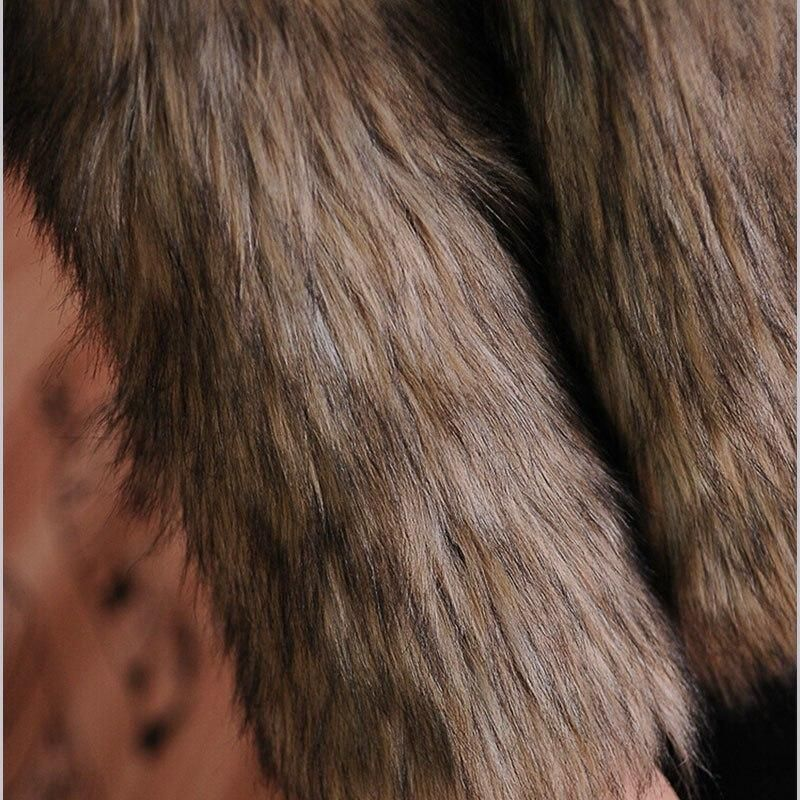 Winter New Fashion Women Faux Fox Fur Coat Brown Luxurious Slim Warm Fur Jacket