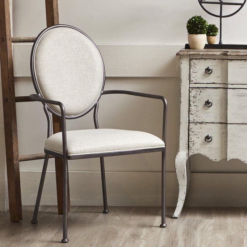 Cairo Linen Upholstered Arm Chair in Beige Modern