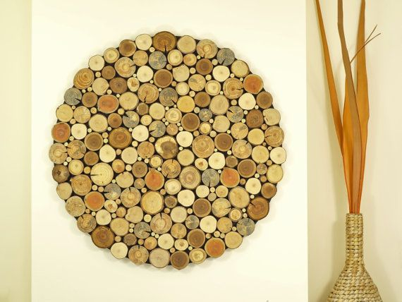 modern wall wood art Round wooden wall wooden decor, Tree rounds ...