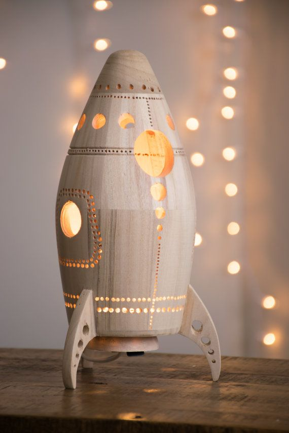 Wooden rocket ship night light nursery baby kid lamp for Vintage outer space decor