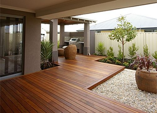 Blackbut Timber Decking Joining Two Rooms As Per My Design No Direction Change Is Interesting Backyard Backyard Landscaping Designs Backyard Patio