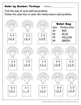Thanksgiving Turkey Double Digit Addition Color By Number Double Digit Addition Thanksgiving Math Worksheets Thanksgiving Math
