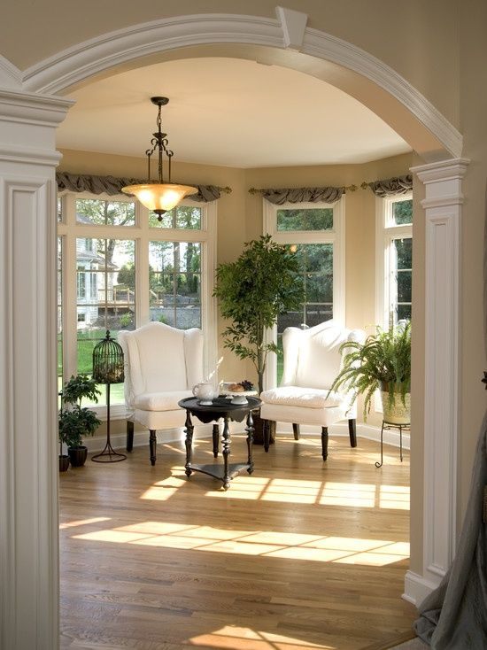 Arch Mouldings Myhomelookbook Traditional Family Rooms Home Arched Windows