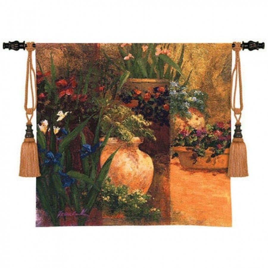 Fine Art Tapestries Flower Pots Tapestry Art Fronckowiak 3236 Wh Fine Art Tapestries Fine Art Tapestry