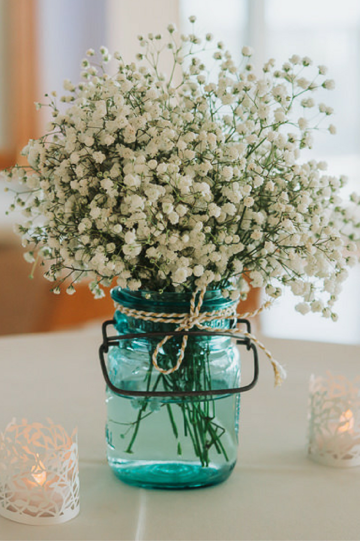 Outdoor St Pete Waterfront Wedding Reception Baby\'s Breath in Blue ...
