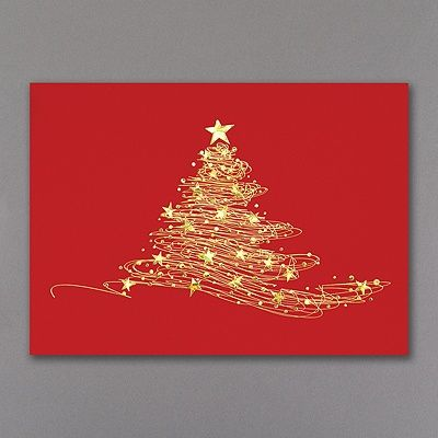 Like Magic Holiday Card Just like magic, a Christmas tree appears from strings of colorful gold foil stamping. The dazzling stars that adorn and top this tree on a background of solid red create an elegant holiday greeting that is sophisticated and tasteful.