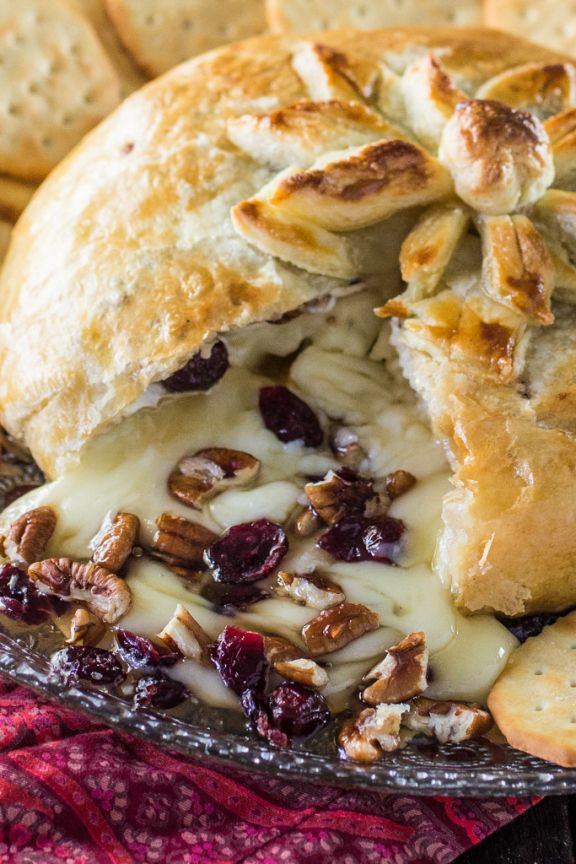 Baked Brie en Croute (with honey, cranberries and pecans) - Olivia's Cuisine