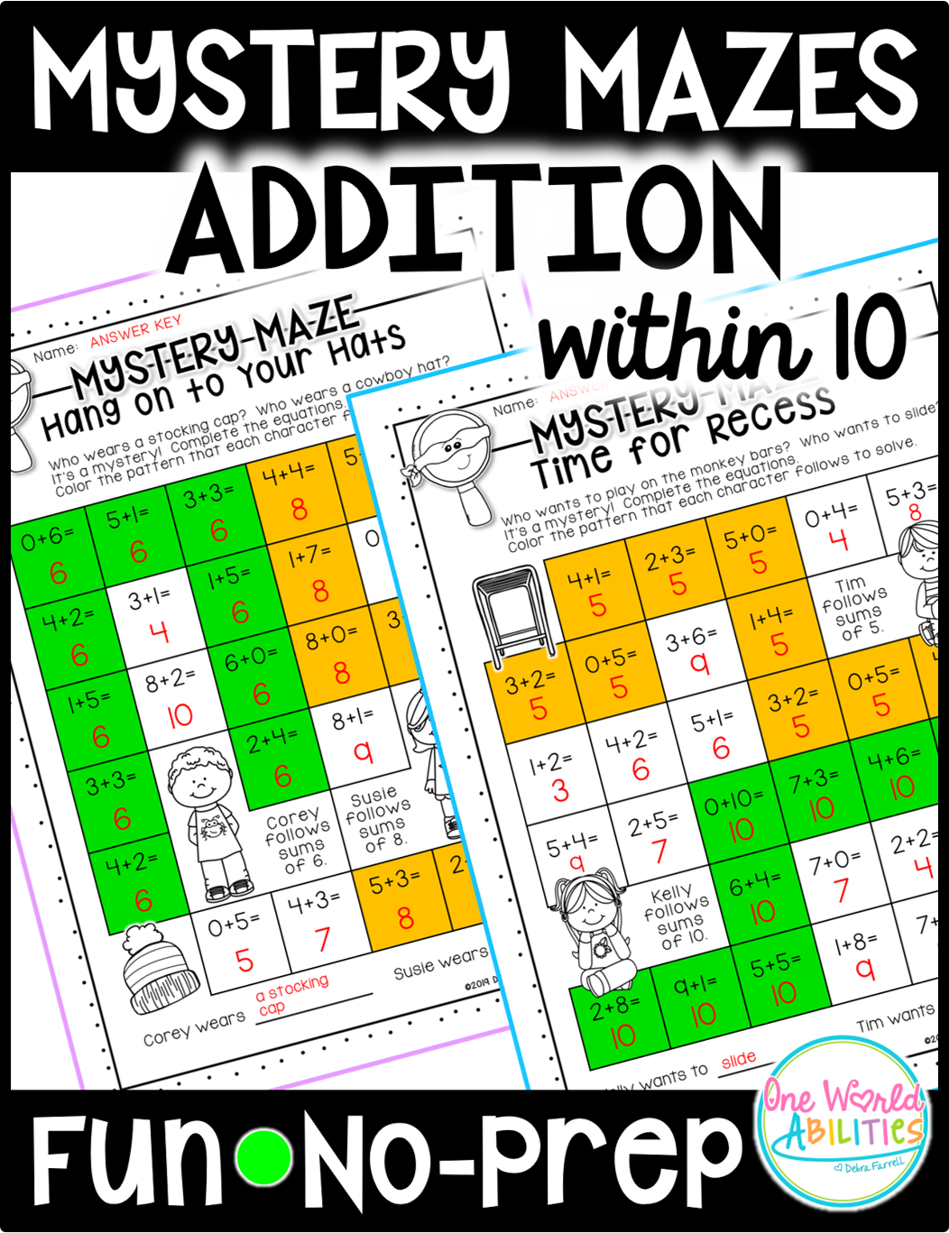 Mystery Math Mazes Addition Within 10 No Prep Printables