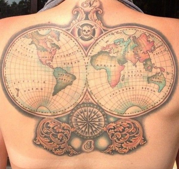 26 world map tattoos with releasing and wandering meanings map 26 world map tattoos with releasing and wandering meanings gumiabroncs Image collections