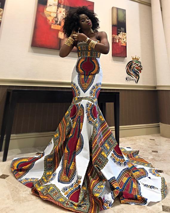 African Wedding dress /Women's Dashiki/ Kente/ Ank
