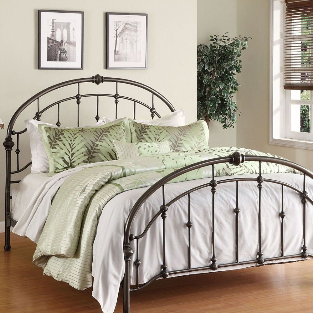 Metal Bed Frame Queen Antique Pewter Steel Headboard Footboard
