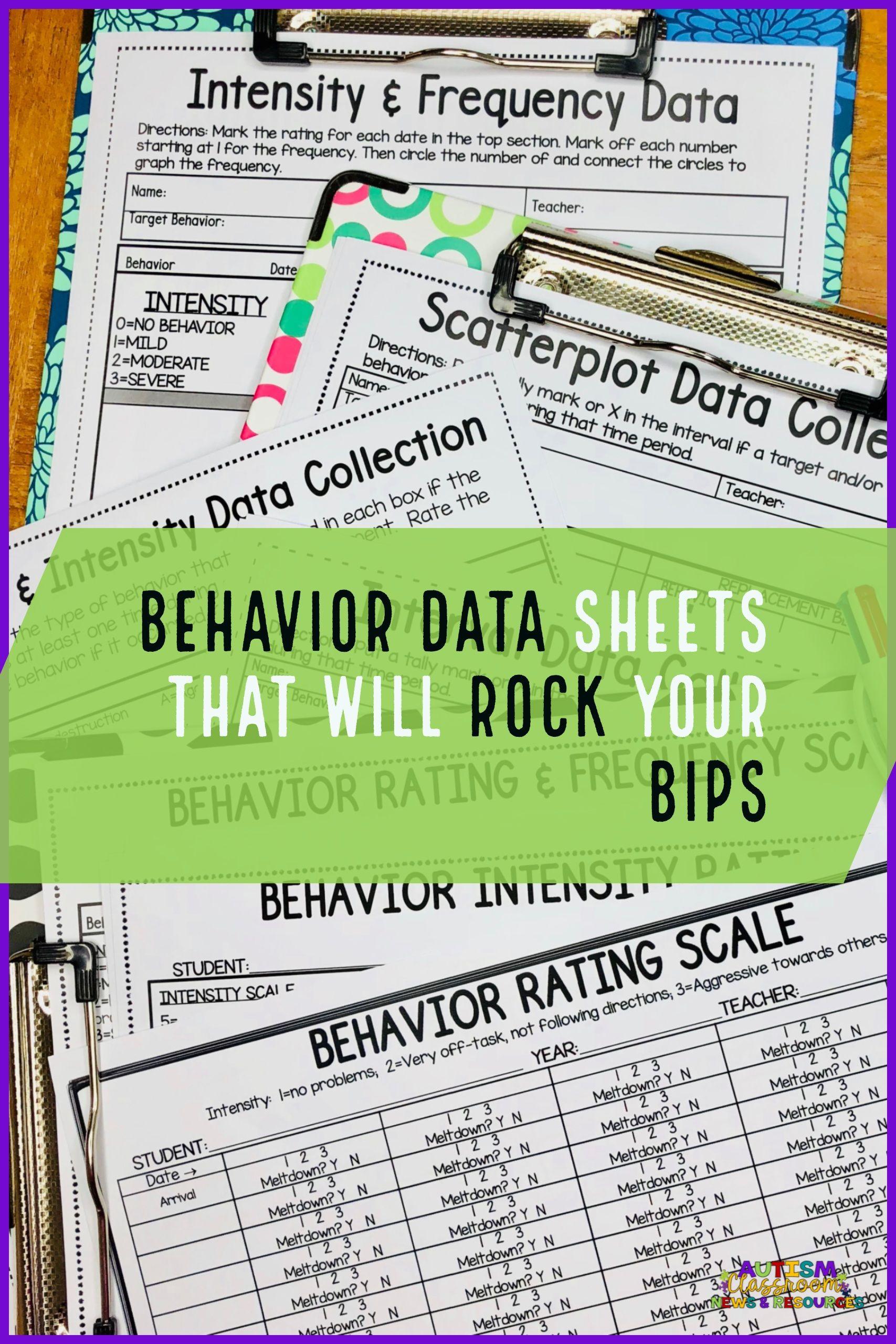 Behavior Data Sheets That Will Rock Your BIPs! | Special Edu Teacher ...