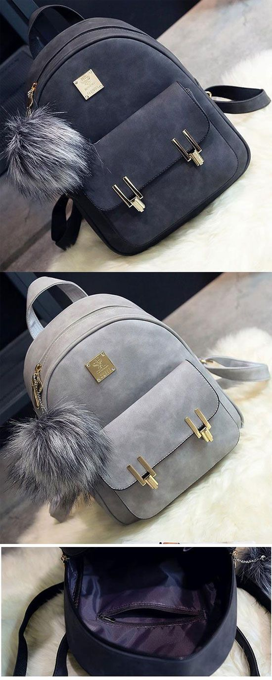 Fashion Frosted PU Zippered School Bag With Metal Lock Match Backpack for  big sale!  fashion  pu  zippered  metal  school  college  Bag  backpack   student ... f59226a0d3704
