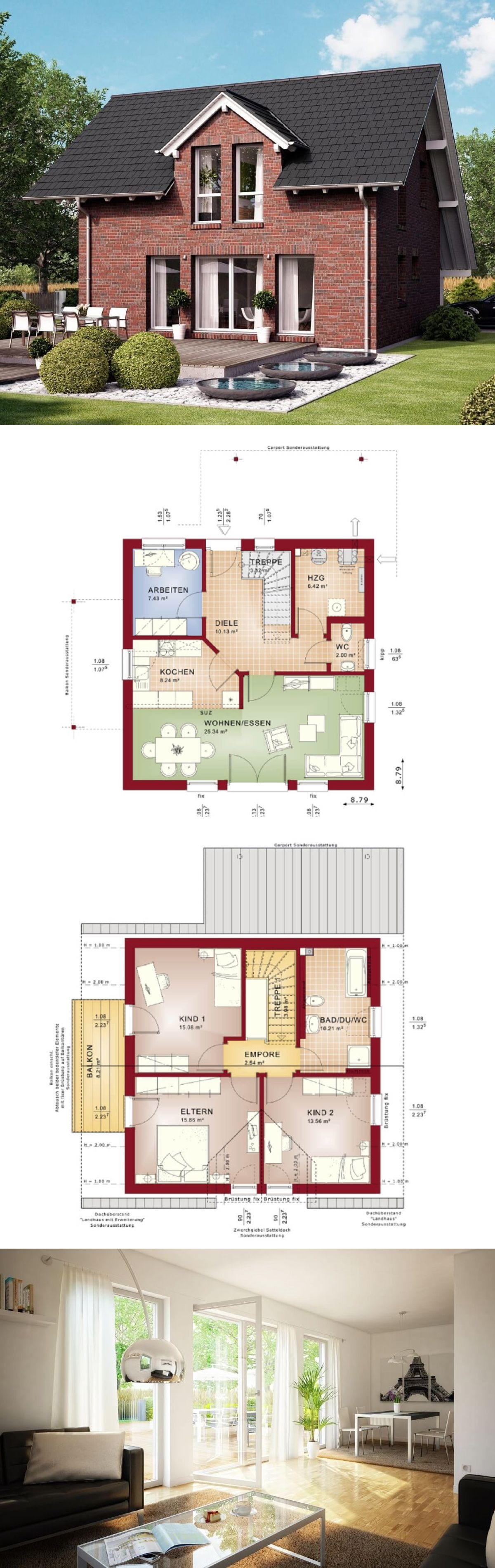 Einfamilienhaus modern satteldach grundriss  EINFAMILIENHAUS MIT KLINKER FASSADE // Haus Celebration 125 V2 ...