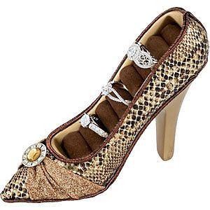 new brown snakeskin fashion high heel shoe ring holder
