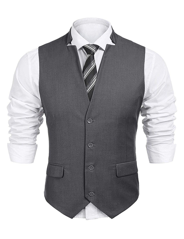 Men S V Neck Sleeveless Slim Fit Vest Jacket Business Suit Dress Vest Charcoal Grey Cr189m47oc9 Vest Outfits Men Business Suit Vest Mens Fashion Suits Business [ 1500 x 1154 Pixel ]