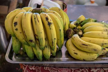 Bunch Of Ripe Bananas At A Street Market Thailand.