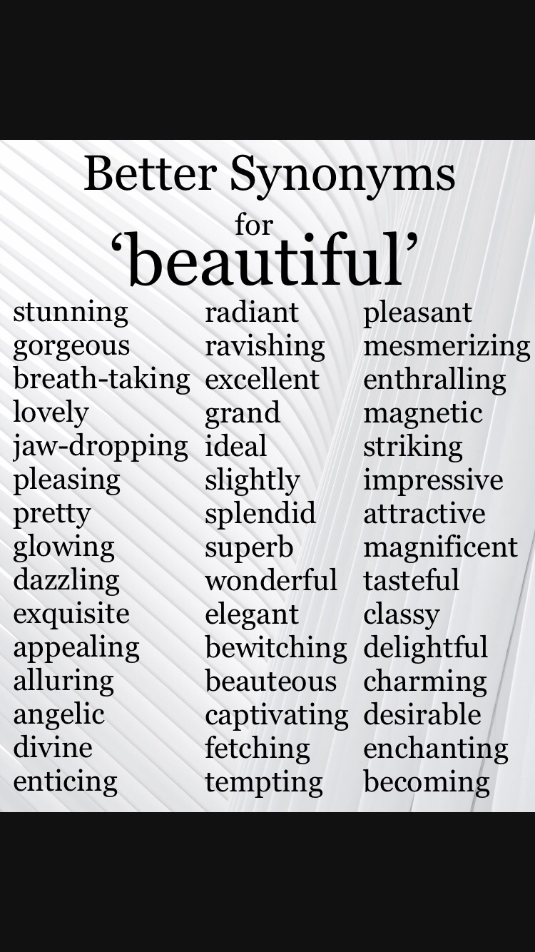 Synonyms for Beautiful. #writing #amwriting #synonyms ...