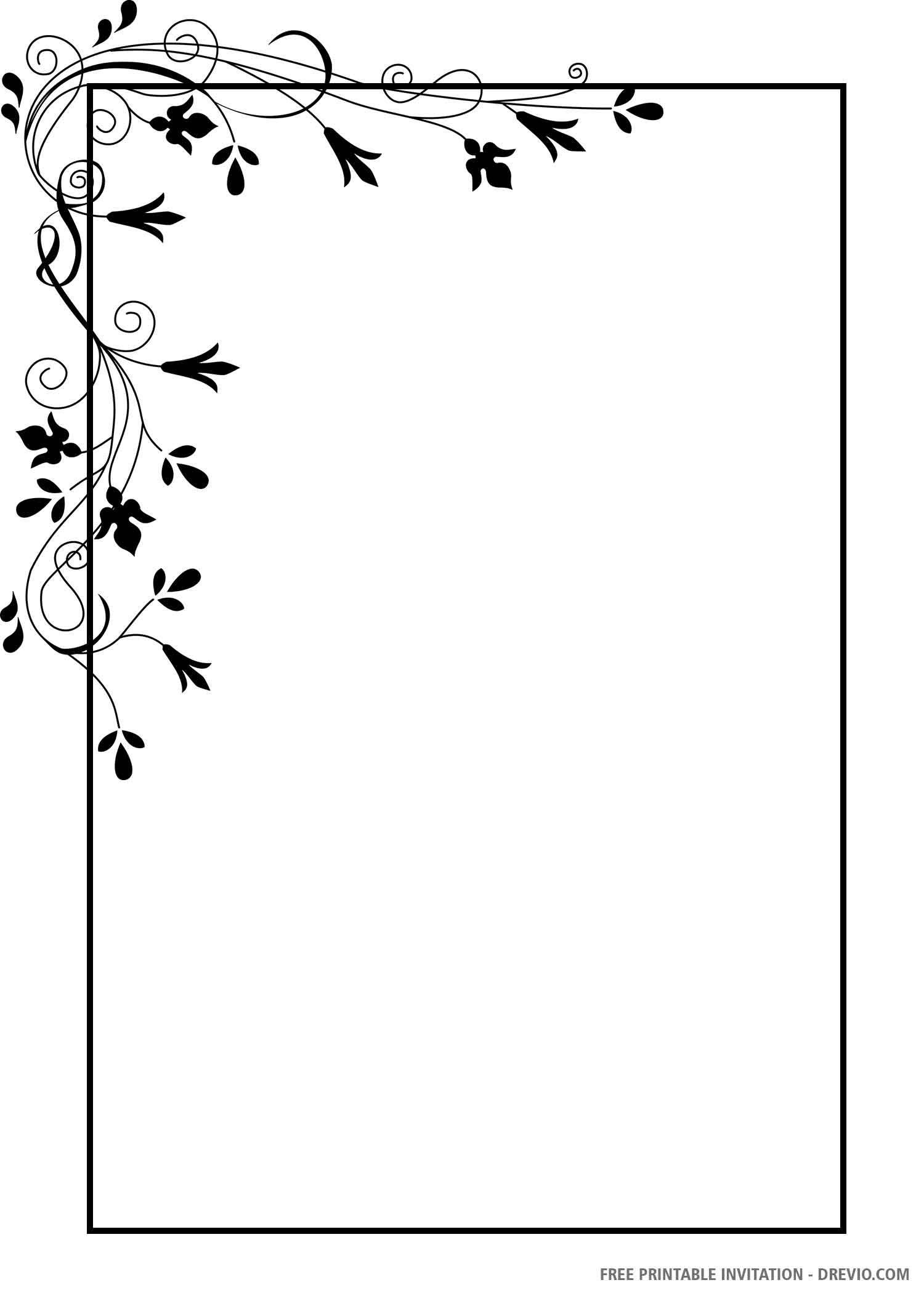 Free Printable Black And White Floral Wedding Invitation Templates Floral Wedding Invitations Colorful Borders Design Invitation Template